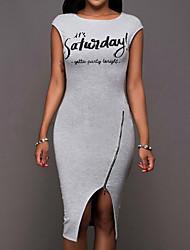 cheap -Women's Casual Bodycon Dress - Letter