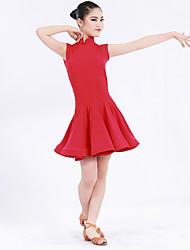 Latin Dance Dresses Kid's Performance Spandex Ruffles Ruched 1 Piece Sleeveless Natural Dress