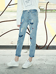 Sign 2017 spring new Korean women loose light-colored embroidered denim straight jeans female hole