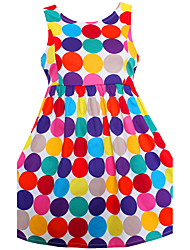 cheap -Girl's Polka Dot Dress, Cotton Spring Summer Sleeveless Dot Rainbow