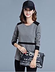 autunno donne nuove coreano che cuce donne della maglietta girocollo in cotone a maniche lunghe&# 39; s camicette selvaggio che basa