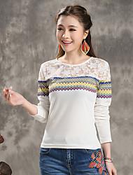 2015 Hitz lace stitching geometric print T-shirt bottoming female 51,140,307
