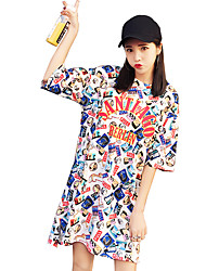 Women really making cotton short-sleeved T-shirt and long sections bottoming shirt dress letter printed pajamas students