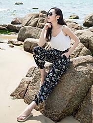 Real shot 17 summer new national wind pants trousers female bohemian beach pants wide Song Halun pants