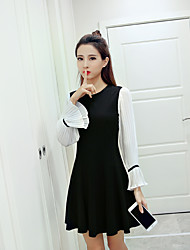 Women's Wedding Daily Date Street Birthday Party Bachelor's Party School Cute A Line Dress,Mixed Color Round Neck Above Knee, MiniLong
