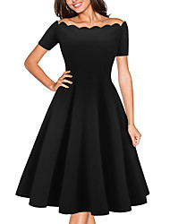 cheap -Women's Party Going out Sexy A Line Dress,Solid Off Shoulder Above Knee Short Sleeves Others Spring Summer Mid Rise Micro-elastic Medium