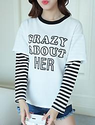 подписать поддельные два письма печатаются с длинными рукавами полосатой футболки женские корейских студентов свободную рубашку куртка