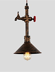 cheap -Vintage Industrial Pipe Pendant Lights Metal Shade Restaurant Cafe Bar Decoration lighting With 1 Light Painted Finish