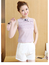 La nouvelle chemise sans manche en vrac mousseline de soie en coréen fantaisie dames dentelle broderie petite taille collier chemise femme