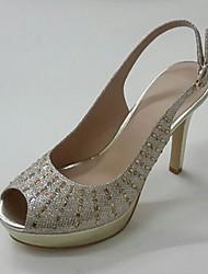 Da donna-Sandali-Matrimonio Formale Serata e festa-Club Shoes-A stiletto Plateau-Lustrini Sintetico-Oro Nero