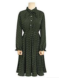 Européen et américain big yards habillement 2017 printemps nouvelle vague point sertissage robe grosse soeur
