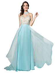 cheap -Ball Gown Illusion Neckline Court Train Chiffon Formal Evening Dress with Beading by Sarahbridal