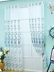 Недорогие -Нанизать стержень занавески Люверс занавески 1 панель Окно Лечение европейский Неоклассицизм, Вышивка Гостиная Полиэстер материал