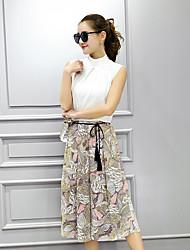 impresso primavera saias e verão terno de algodão pequena blusa perfumado vento chiffon + 9-2 peça ampla perna da calça da moda