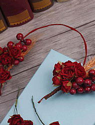 Flax Fabric Headpiece-Wedding Special Occasion Headbands Flowers 3 Pieces