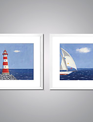 Framed Canvas Print Abstract Landscape Traditional Realism,Two Panels Canvas Square Print Wall Decor For Home Decoration