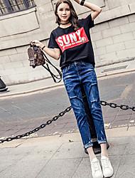 La nuova alta vita dei jeans blu del foro primavera e l'estate femminili pantaloni larghi crollo appeso cavallo micro in nove punti