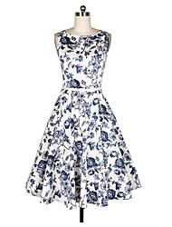 Damen A-Linie Kleid-Ausgehen Retro Blumen Rundhalsausschnitt Über dem Knie, Mini Ärmellos N / A Sommer Mittlere Hüfthöhe Unelastisch