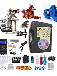 cheap -BaseKey Tattoo Machine Professional Tattoo Kit - 3 pcs Tattoo Machines LED power supply Case Included 1 steel machine liner & shader / 1 rotary machine liner & shader / 1 alloy machine liner & shader