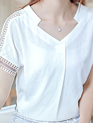 Sign 2017 summer new Korean Fan Ladies v-neck short sleeve cotton shirt female shirt