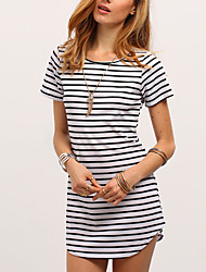 cheap -Women's Daily Going out Casual Sophisticated T-shirt,Striped Round Neck Short Sleeves Cotton Rayon