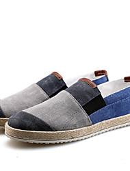 cheap -Men's Loafers & Slip-Ons Comfort Light Soles Canvas Spring Summer Casual Outdoor Walking Comfort Light Soles Flat Heel Gray Blue Black/Red