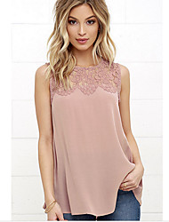 cheap -Women's Polyester Loose T-shirt - Solid, Lace