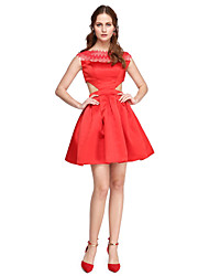 A-Line Fit & Flare Bateau Neck Short / Mini Satin Cocktail Party Homecoming Prom Dress with Lace Pleats by TS Couture®