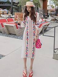 Spot coreore achete 2017 été nouvelle broderie de vent national robe de fille fille robe