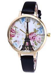 Damen Modeuhr Armbanduhr Quartz Leder Band Eiffelturm Cool Bequem Schwarz Weiß Blau Rot Grün Weiß Schwarz Rot Blau
