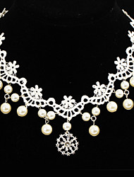 cheap -Women's Jewelry Set - Lace Flower Unique Design, Tattoo Style, Dangling Style Include White For Wedding / Party / Special Occasion / Daily / Casual