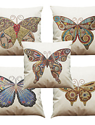 cheap -Set of 5 Mosaic Butterfly Pattern  Linen Pillowcase Sofa Home Decor Cushion Cover (18*18inch)