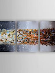 baratos -Pintados à mão Abstrato Horizontal, Modern Tela de pintura Pintura a Óleo Decoração para casa 3 Painéis