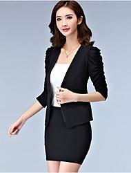 cheap -Women's Work Plus Size Blazer - Solid Color, Print