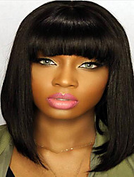 cheap -Remy Human Hair Lace Front Wig Straight 120% 130% Density 100% Hand Tied African American Wig Natural Hairline Short Medium Long Women's