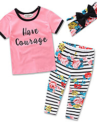 cheap -Girls' Party Daily Going out Striped Floral Clothing Set, Cotton Polyester Summer Short Sleeves Floral Stripes Blushing Pink