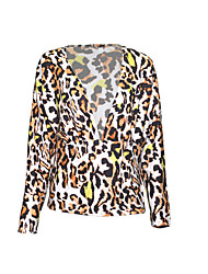 cheap -Women's Daily Sexy Summer Blouse,Leopard V Neck Long Sleeves Rayon Thin