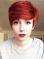 сторона бахрома короткая красная естественной волна парики человеческих волос для женщин