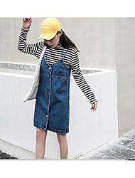 Sign Korean models wild spring and summer simple denim strap dress strap dress