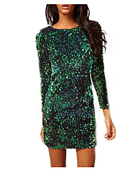 Women's Party Club Bodycon Dress,Print Round Neck Above Knee Long Sleeve Others Spring Fall Mid Rise Micro-elastic Medium