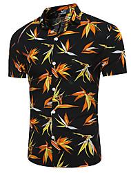 cheap -Men's Going out Beach Holiday Casual Summer Shirt,Floral Classic Collar Short Sleeves Cotton Linen Opaque Thin