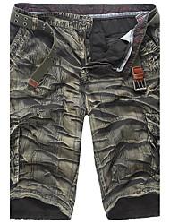 abordables -Hombre Algodón Corte Recto Shorts Pantalones - A Cuadros