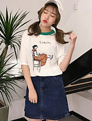 Sign Korean hit color collar spoof cartoon woman casual loose short-sleeved T-shirt cotton slub