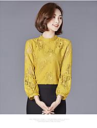 Sinal 2017 novo significativamente fino camisa manga camisa coreano solta camisa de renda laço fino seção