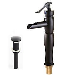 abordables -Clásico Lavabo Cascada Válvula Cerámica 1 Orificio Sola manija Un agujero Bronce Aceitado, Conjunto de grifería