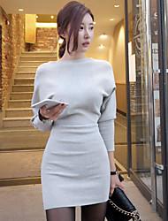 Damen Strickware Kleid-Lässig/Alltäglich Einfach Anspruchsvoll Solide Bateau Mini Langarm Frühling Herbst Hohe Hüfthöhe Dehnbar