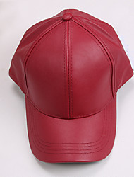 Women 's Summer Solid Color Leather Flat Hip Hop Printing Baseball Cap