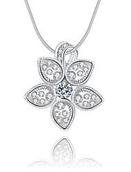 cheap -Women's Flower Luxury Unique Design Logo Style Dangling Style Pendant Necklace Crystal Sterling Silver Crystal Imitation Diamond Pendant