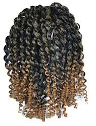 1 Pack 8inch Black Light Brown Mix Curly Afro Kinky Mali Bob Braids Hair Extensions Kanekalon Hair Braids 30g (5-6packs/head)