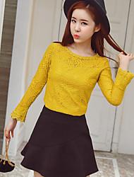 подписать весной 2017 новых корейских женщин вокруг шеи с длинными рукавами кружева рубашки дна рубашки тонкий был тонкий женский
